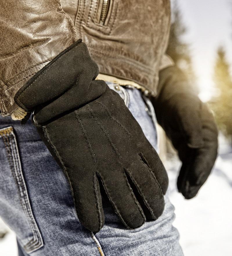 Wollen handschoenen met echt leder