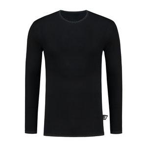T-shirt zilvergaren lange mouw zwart